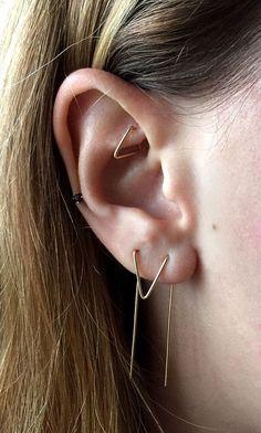 Dubbele doordringende Earring Chevron oorbellen van door AnvilAgate
