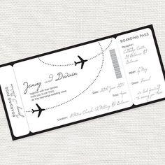 airplane boarding pass invitation  printable file by idoityourself