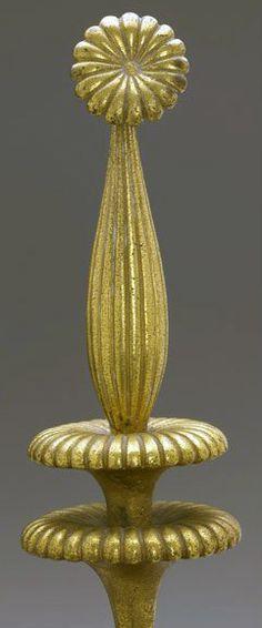 Armand Albert Rateau - Chenêts 'Fleur' - Bronze
