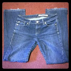 DKNY JEANS DKNY distressed jeans.some fray on the bottom by foot. Great jeans. DKNY Jeans Straight Leg
