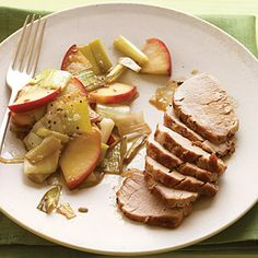 Pork Tenderloin with Sautéed Apples and Leeks