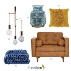 A little collection of product inspired by today's Art Class #stylebyfreedom blog post which is your favourite piece?1# Metro Chandelier Pendant 65cm in Copper Colour $279 #2 Remi Vessel 19cm in Blue $39.95 #3 Lula Cushion 45x45cm in Ochre $39.95 #4 Loopy Throw 130x170cm in Blue $199 #5 Copenhagen Armchair in Charme Russett $1999