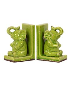 Loving this Green Elephant Bookend - Set of Two on #zulily! #zulilyfinds