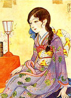 Japan antique art. illustrator / Kasyou Takabatake.   kimono beauty lady. the taisyou period. 1925.