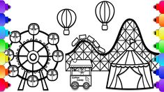 Learn How to Draw an Amusement Park Step by Step for Kids Summer Coloring Pages, Easy Coloring Pages, Online Coloring Pages, Coloring Books, Roller Coaster Images, Roller Coaster Drawing, Outline Drawings, Easy Drawings, Cartoon Park
