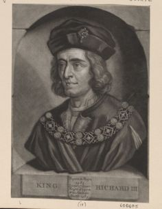 KING RICHARD III by John Faber Junior (c. 1684-1756). Mezzotint of Richard III, King of England. Bust length with long hair, jewelled cap, doublet, fur edged robes, and jewelled collar. Within a semi-circular niche with titles and dates below. Borders trimmed. Royal Collection Trust/© Her Majesty Queen Elizabeth II 2016