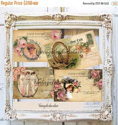 ON SALE Digital Paper, Vintage Digital Postcard, Printable Digital Ephemera Postcard, Shabby Digital Paper, Vintage Scrapbook Supplies. No.