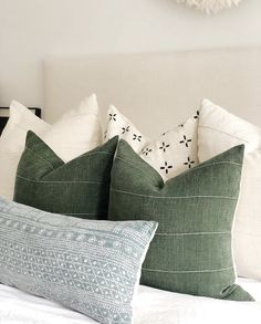 dusty blue forest green ivory Designer Pillow covers your bed and sofa Traditional pillows blended with neutral hues and minimalist style Shop all styles at Traditional Pillows, Green Pillows, Green Bedding, Sofa Pillows, White Pillows, Throw Pillows For Bed, Green Pillow Covers, Decor Pillows, Bed Covers