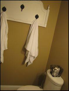 Precious towel rack made from a headboard from beneathmyheart!