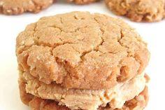 Peanut Butter-Oatmeal Sandwich Cookies - Crunchy peanut butter-oatmeal cookies, stuffed with your choice of fudge or PB filling. Peanut Butter Sandwich Cookies, Fudge Cookies, Peanut Butter Filling, Peanut Butter Oatmeal, Oatmeal Cookies, Sandwhich Cookies, Cookie Sandwiches, Oatmeal Cake, Peanut Butter Brownies