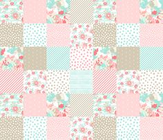 Baby Girl Wholecloth Cheater Quilt Quilt Squares Baby Nursery Floral Nursery Chevron by Charlottewinter Printed on Cotton Poplin Ultra Fabric by The Yard wholecloth Quilt Fabric
