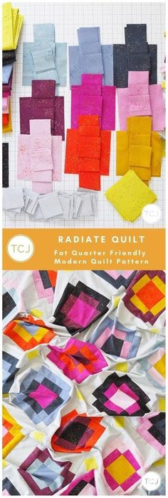 Radiate Quilt by Meghan of ThenCameJune.com. The Radiate Quilt Pattern is a playful mix and match modern quilt pattern that is FQ and 1/4 yard friendly. #radiatequilt #thencamejunepatterns #fatquarterquilt #modernquilt #quiltpattern Vintage Quilts Patterns, Modern Quilt Patterns, Quilt Patterns Free, Quilting Tutorials, Quilting Projects, Quilting Designs, Quilting Ideas, Fat Quarter Quilt, Quilt Sizes