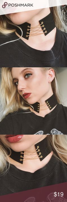 last one!• black suede gold chain lace up choker • this choker instantly dresses up amy outfit! gorgeous gold chain takes this piece to the next level. nothing basic about this choker 💋 * faux black suede  * gold chain lace up detail  * adjustable clasp in rear   ❣ ABSOLUTELY NO PP OR TRADES ❣ Nasty Gal Jewelry Necklaces