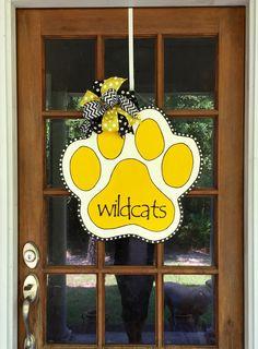 Paw Wildcats Door Hanger / School Spirit by SouthernWhimsyStyle Painted Doors, Wooden Doors, Painted Burlap, Hand Painted, Scrap Wood Crafts, Teacher Wreaths, Dog Wreath, Tiger Paw, Spirit Gifts