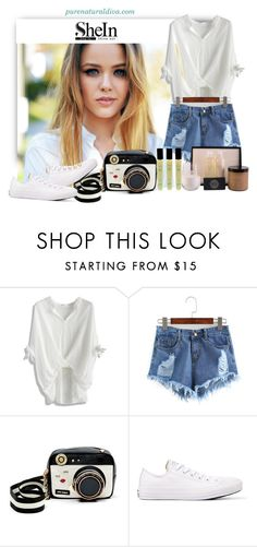 """Ripped Raw Hem Denim Shorts"" by purenaturaldiva ❤ liked on Polyvore featuring Chicwish, Betsey Johnson, Converse, naturalbeauty, organicbeauty and purenaturaldiva"
