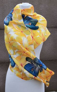 Hand painted silk scarf flowerHand painted silk scarf by Aryonelle