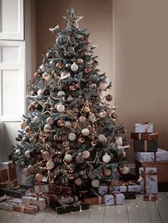Six Blush & Cream Flecked Baubles - Christmas