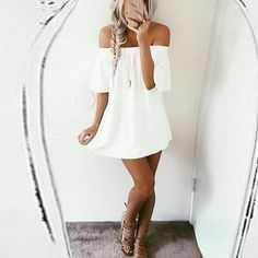 Take a look at the best cute dresses for summer in the photos below and get ideas for your new outfits! How cute is this off the shoulder white dress? Perfect for summer time! We are all about the pff… Continue Reading → Mode Outfits, Casual Outfits, Fashion Outfits, Womens Fashion, Dress Fashion, Fashion Clothes, Dress Casual, Fashion Ideas, Short Outfits