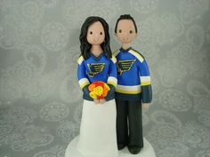 Bride Groom Hockey Fans Customized Wedding Cake Topper