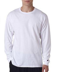 champion adult long-sleeve t-shirt - white (xl)
