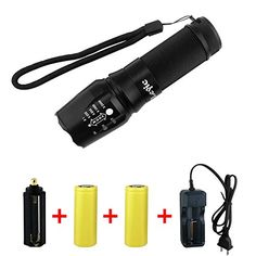 Flashlights - Super Bright CREE XML T6 LED Portable Zoom Tactical Flashlight Focus Adjustable Torch Outdoor Lamp with Battery and Charger * Continue to the product at the image link.