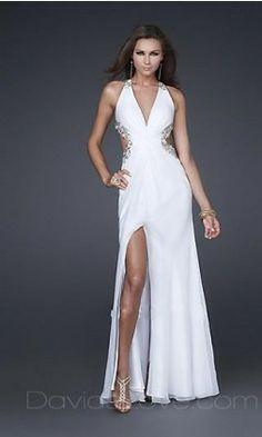 A-Line V-neck Floor Chiffon Prom Dress 159.99