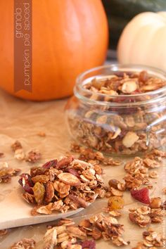 Pumpkin pie spiced granola made with old fashioned oats, almonds, and pecans. Incorporate more of the pumpkin spice into breakfast