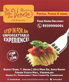Experience the Best Pastas in Town...