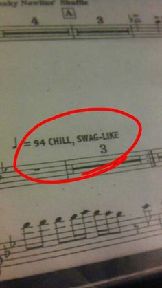 One of my favorite band pieces had this tempo marking (quarter note equal chill, with swag. Music Jokes, Music Humor, Funny Music, Band Nerd, I Love Music, Music Is Life, Band Problems, Flute Problems, Band Jokes