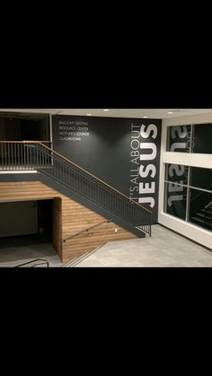 Great Idea for the Stairwell by the West Entrance! Church Lobby, Church Foyer, Youth Room Church, Church Interior Design, Church Stage Design, Church Welcome Center, Church Nursery, Lobby Design, Youth Group Rooms
