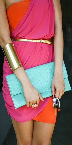 Colorblock with gold and turquoise purse  LBV ♥✤