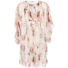 Blumarine Floral Caftan Dress (€1.615) ❤ liked on Polyvore featuring dresses, pink slip, silk caftan, floral slip dress, ruched dress and floral dress