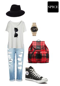 Spice Look #59| Simple Cute Fashion Lazy Day Outfit ft. Black Top Hat + Cat Eye Sunglasses + Chuck Taylor High Top Converse + Gold March Jacobs Watch + Plaid Coach Backpack + Simple White V-neck + Distressed Denim Cuffed Jeans