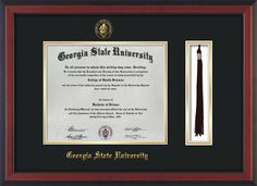 GSU Diploma Frame-Cherry Reverse-w/GSU Seal-Tassel-Black on Gold mat – Professional Framing Company