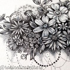 Dotwork Flower Cloud- Pen and Ink Stippling Drawing