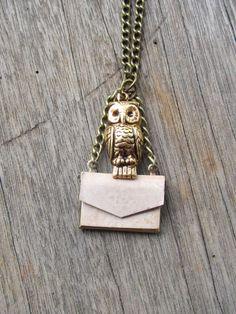 Harry Potter 'Owl Post' Locket Necklace, Owl bearing Hogwarts Acceptance Letter with secret compartment