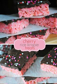 These pretty-in-pink cherry krispie treats are topped with dark chocolate frosting and sprinkles.