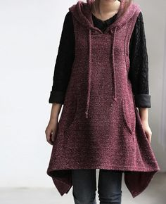 asymmetry hooded vest dress/ long waistcoat Coat In by MaLieb, $68.00
