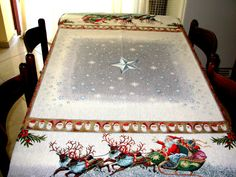 Silver Snowy Table Cloth, Christmas Table Cloth, Tablecloth for Christmas Days, Modern Tablecloth, Gift For Christmas Days.