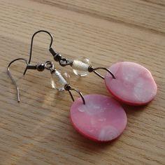 Pink Swirl Millefiori Disc Earrings
