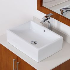 Elite White Tall Ceramic Square Bathroom Sink, Size 16-25
