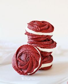 A while back I posted some Neapolitan Spritz Cookies.  I love the cookie so much that I just knew I had to make it for another special occasion! This recipe is one that I am really, really happy with as well.  Its almost like a red velvet brownie, only in cookie form. Pair it with a marshmallow