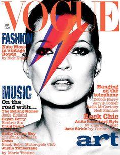2003: Kate Moss as David Bowie. Nothin hotter than this! http://ccskye.com/shop.php?id=1725=6 Vogue Magazine, Ziggy Stardust, lightning bolt, cc skye