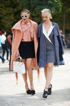 Because two is better than one. Moretti layered on blush pink and Moe borrowed from the boys with this suiting-inspired dress.    - ELLE.com