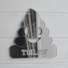 Toilet Poop Emoji Acrylic Mirrored Door Sign Acrylic Mirror, Mirror Door, Door Signs, Emoji, Toilet, Flush Toilet, The Emoji, Toilets, Emoticon