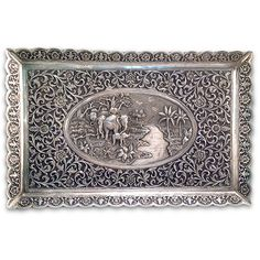 Antique Indian Silver Rectangular Tray,Kutch, India – Late 19th century - Joseph Cohen Antiques