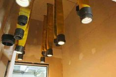 Old #fire hose turned into pendent lights, another #DIY exceptional use of old #firefighter equipment & tools.