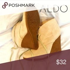 Aldo Tauret Camel Suede Wedge Ankle Boot This season, transform your casual looks with these awesome lace-up booties. Desert-inspired suede upper. Crepe sole with layered outsole. Barely used in Excellent Condition.  - Heel Height: 4 inches Aldo Shoes Heeled Boots