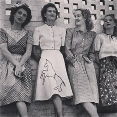 (5) 1940s fashion found photo print women war era WWII day dress casual dots novelty print horse skirt blouse floral button vintage