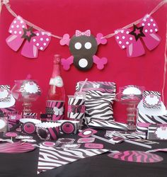 Diva Rock Star Animal Print Custom Birthday Printable Party or Baby Shower Package. $30.00, via Etsy.